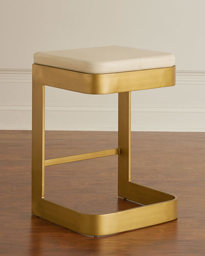 Jordan Leather & Brass Counter Stool