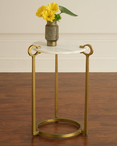 Cresthaven Ivory Marble Accent Table