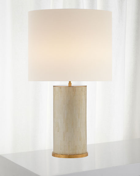 Eliot Bone Tile Table Lamp with Linen Shade