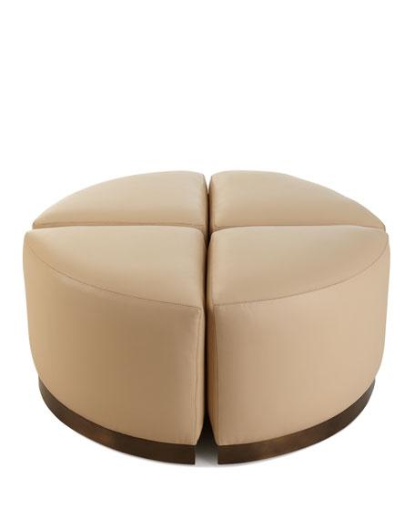 4-Piece Ecru Round Ottoman