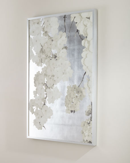 """White Blossoms on Silver"" Giclee Wall Art"