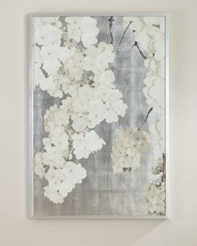 White Blossoms on Silver Giclee Wall Art