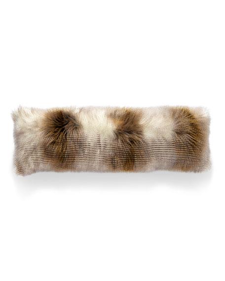 Two-Tone Llama Faux-Fur Bolster Pillow