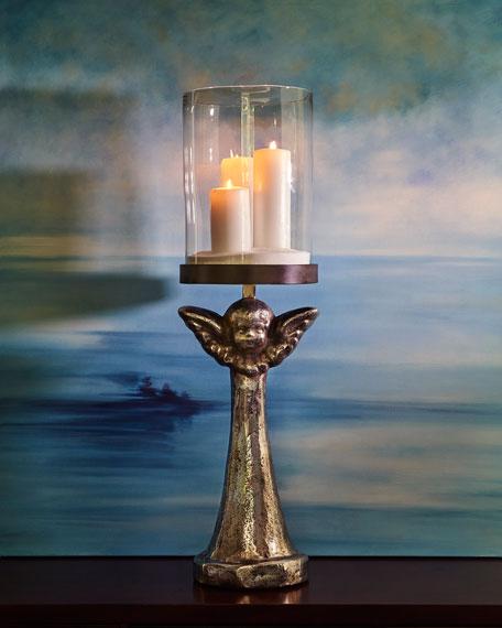 Patria Angel Hurricane Candleholder with Nickel Finish