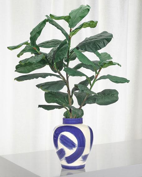 Fiddle Leaf Floral Arrangement in Blue & White Ceramic Jar