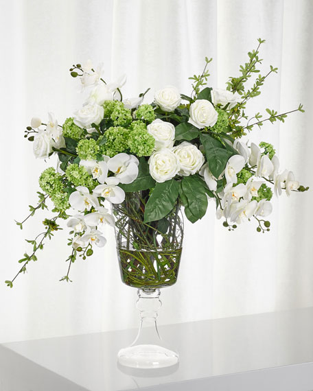 Peony Snowball White & Green Floral Arrangement
