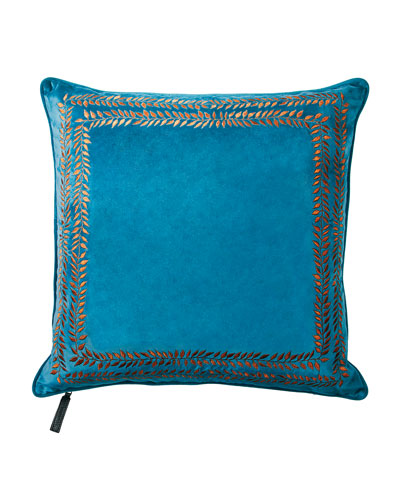 Valencia Embroidered Velvet Throw Pillow  Turquoise