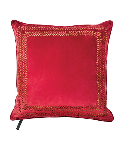 Valencia Embroidered Velvet Throw Pillow  Red