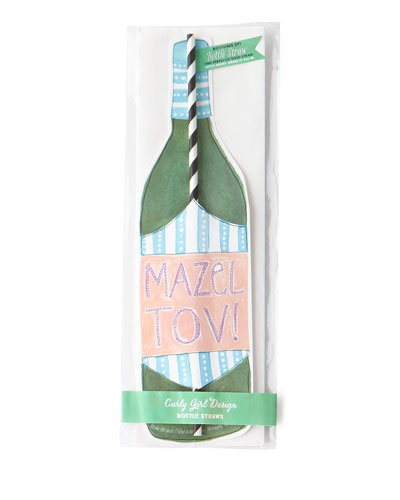 Mazel Tov Wine Straw Card