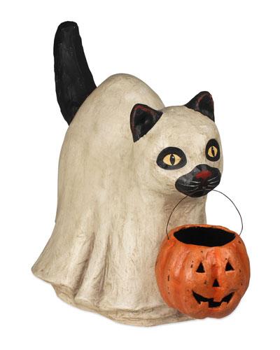 Ghost Cat Paper Mache Halloween Decoration