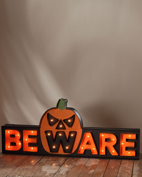 BEWARE Marquee Light-Up Halloween Sign