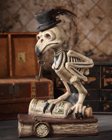 Grimoire Owl Skeleton Paper Mache Halloween Decoration