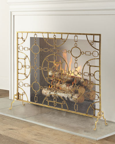 Italian Gold Iron Equestrian Fireplace Screen