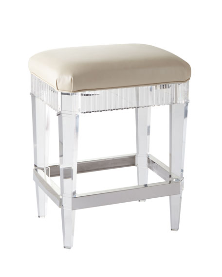 Fluted Acrylic & Leather Counter Stool
