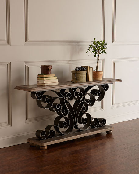 Hooker Furniture Berg Metal Scroll Console Table