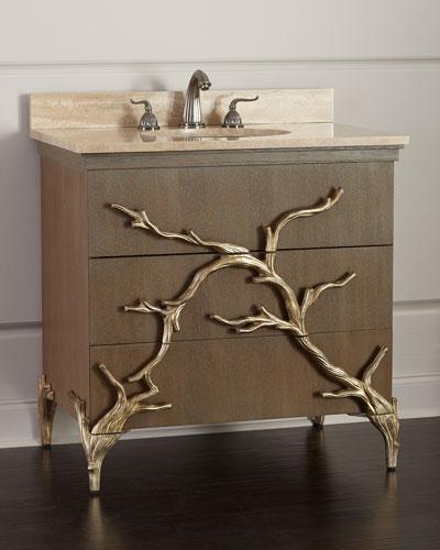 Branch Travertine-Top Vanity with Porcelain Sink