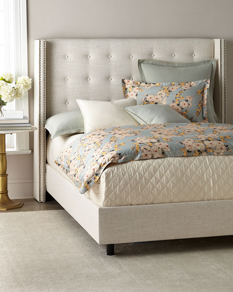Lisabeth Queen Tufted Wing-Back Bed