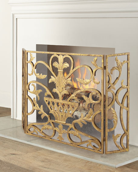 Three-Panel Iron Fireplace Screen with Urn Design