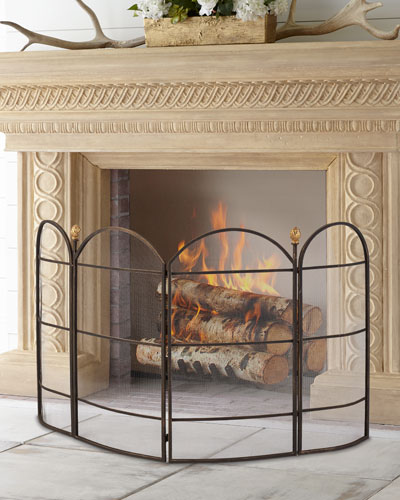 Curved 4-Panel Fireplace Screen
