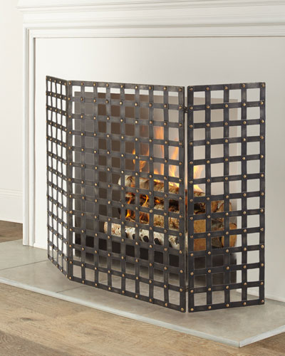 Woven Iron Nailhead Fireplace Screen