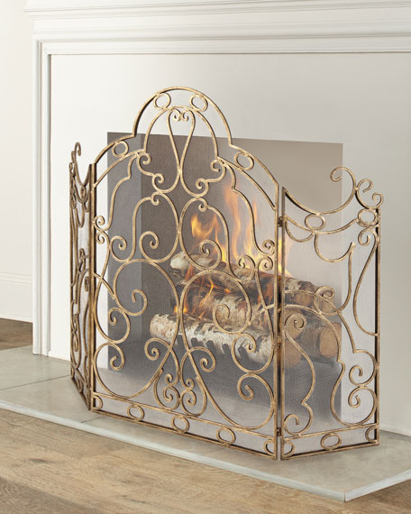 Three-Panel Scroll Iron Fireplace Screen