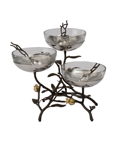 Michael Aram Pomegranate Triple Bowl Stand