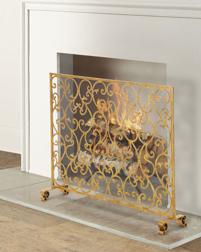 Tole Scroll and Leaf Design Fireplace Screen