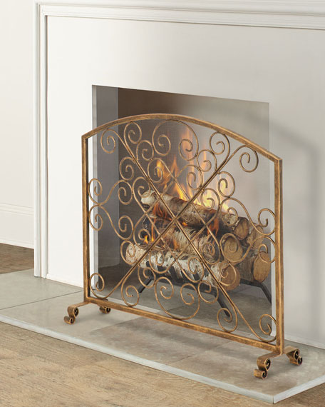 Light Burnished Gold Iron Arched Fireplace Screen