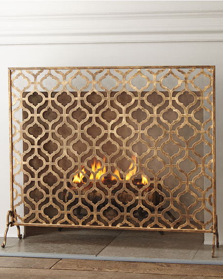 Oversize Single-Panel Iron Fireplace Screen