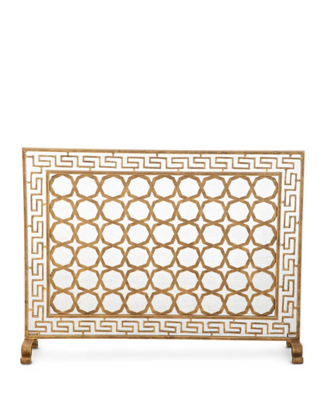 Tole Greek Key Single Panel Fireplace Screen