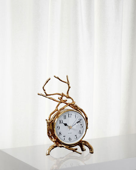 Global Views Twig Brass Clock