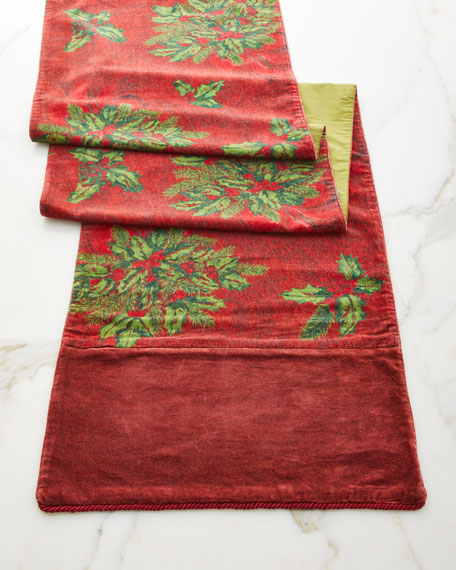 Deck the Holly Velvet Table Runner