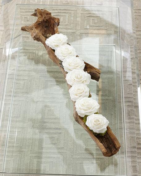 Preserved Roses in Wood Log