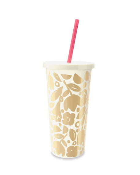 golden floral tumbler with straw