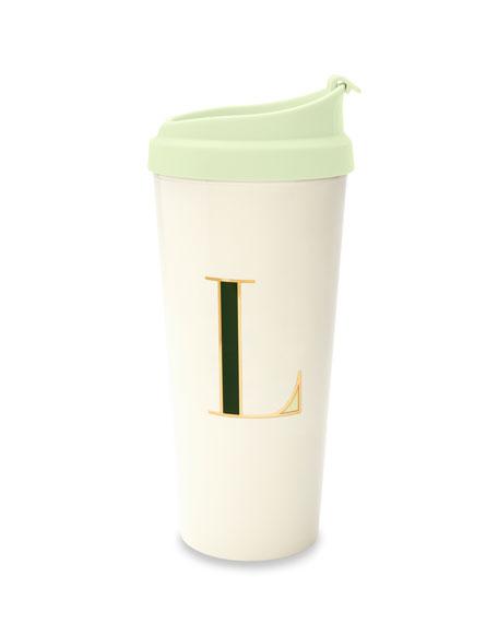 """thermal """"l"""" initial travel mug"""