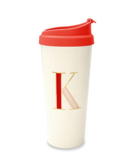 """thermal """"k"""" initial travel mug"""
