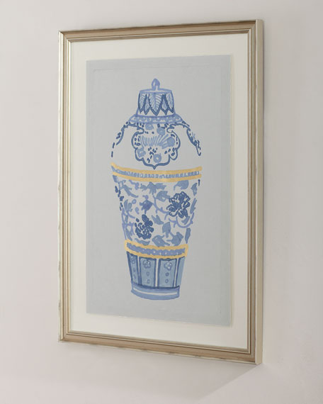 """""""Blue and Gold Urn IV"""" Giclee Wall Art"""