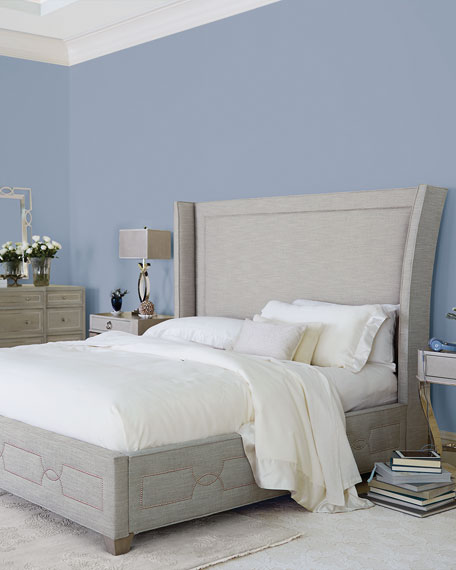 Criteria Wingback Upholstered Queen Bed