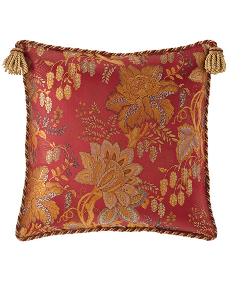 Francesca Floral European Sham with Tassel Trim
