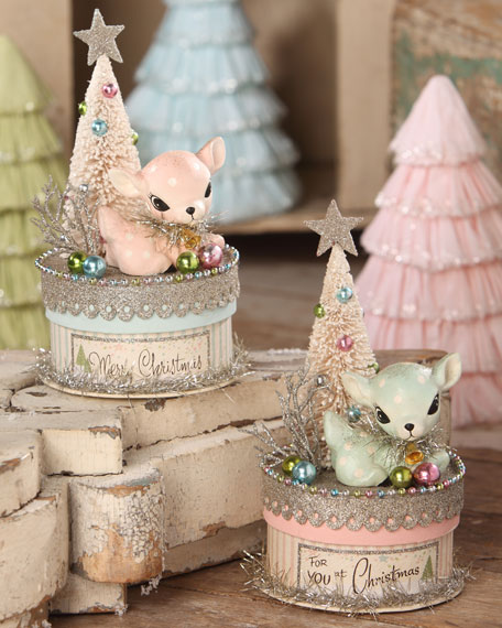 Bethany Lowe Christmas Ornaments.Pastel Deer On Box Set Of 2