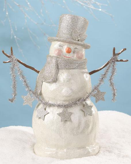 Platinum Smiley Snowman Large Paper Mache Christmas Decor