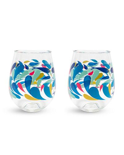 Splash Stemless Wine Glasses  Set of 2