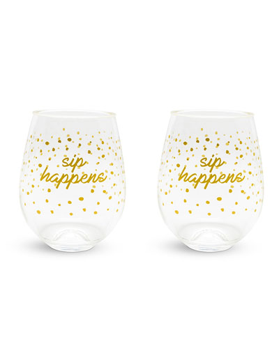 Dots Stemless Wine Glasses  Set of 2