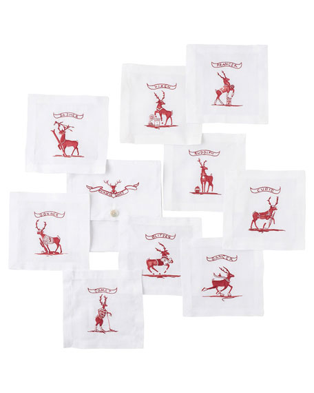 Country Estate Reindeer Games Cocktail Coasters with Pouch,