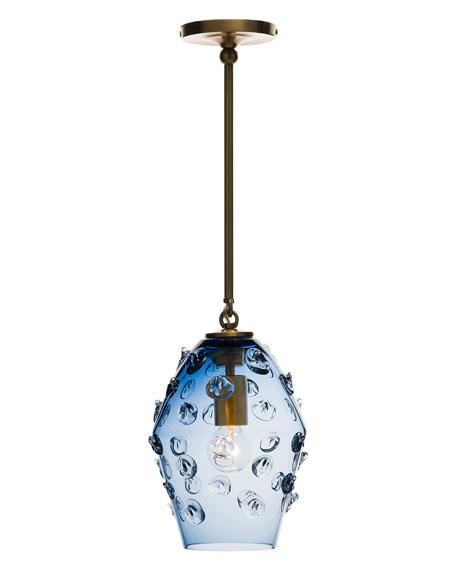 Florence Smoke Blue Diamond Brass Pendant