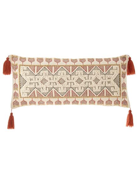 Embroidered Oblong Tassel Pillow