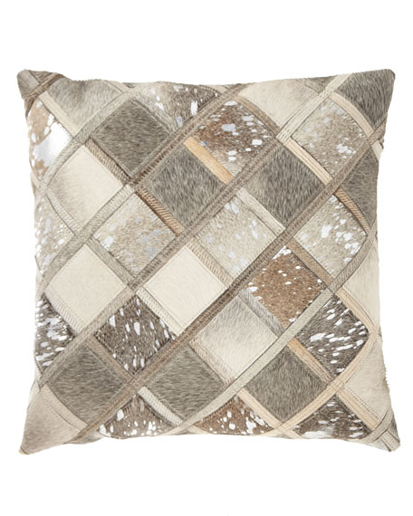 Hair Hide Squares Patchwork Pillow
