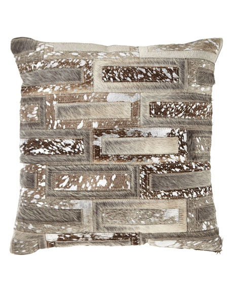 Hair Hide Rectangles Patchwork Pillow