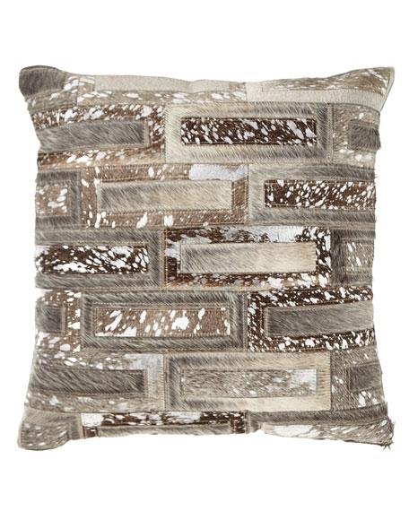 Nourison Hair Hide Rectangles Patchwork Pillow
