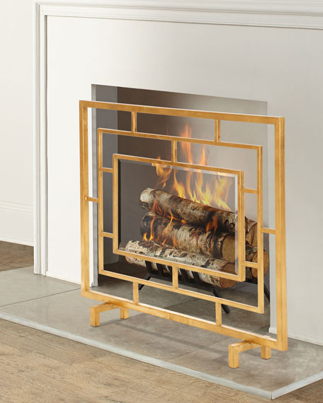 Antiqued Gold Glass Panel Fireplace Screen